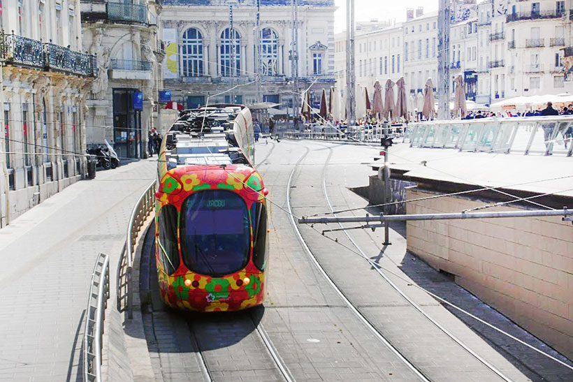 the tram to jacou in montpellier city center
